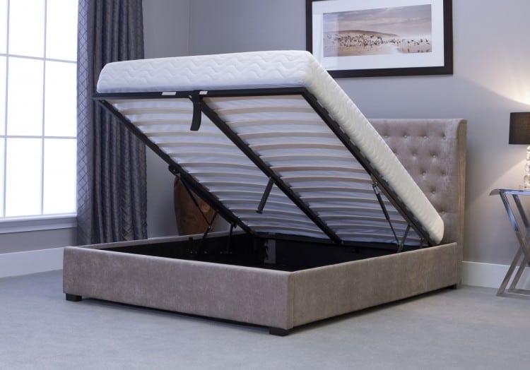 13289 emporia kensington 4ft6 double stone fabric ottoman bed