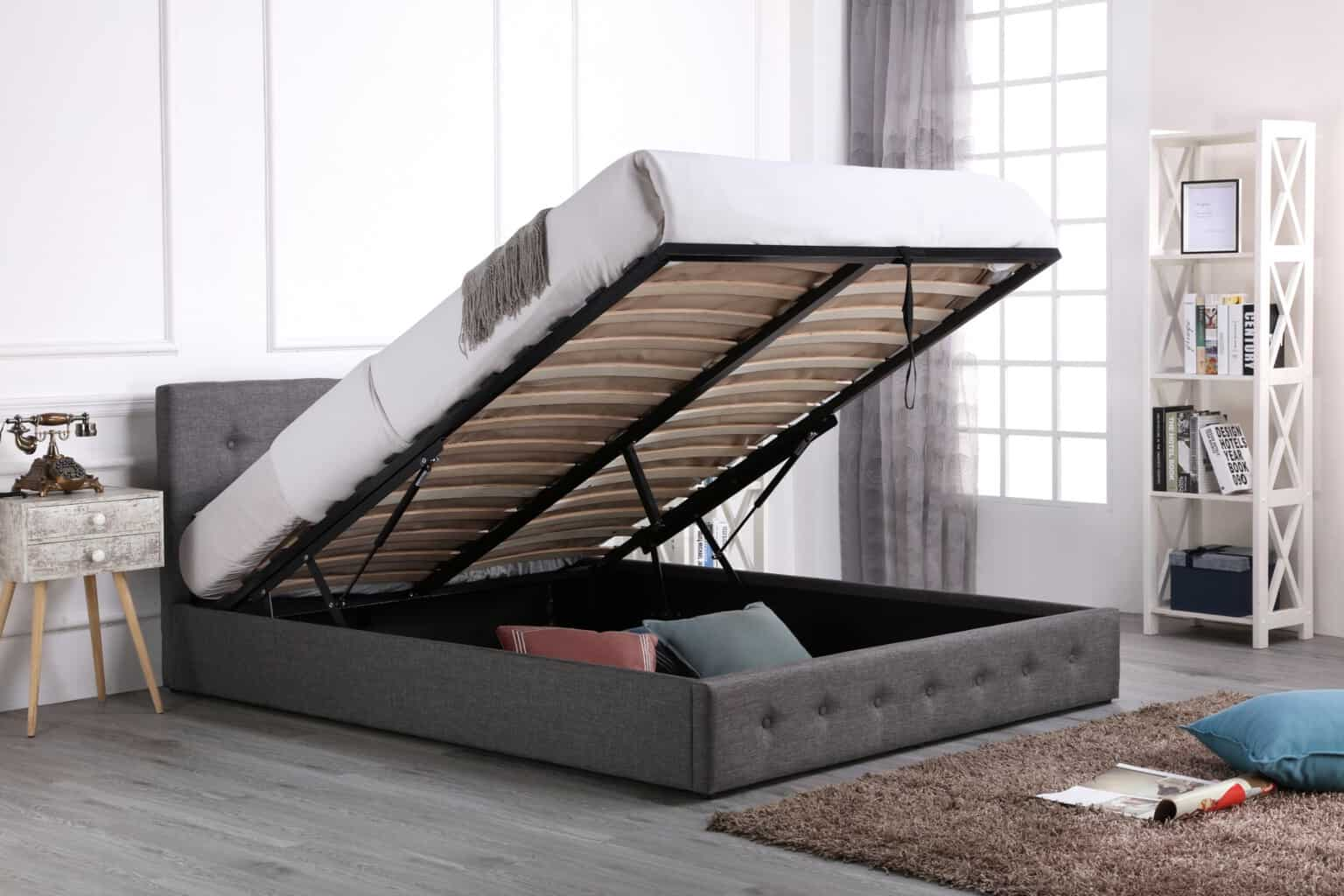 4ft Small Double Grey Fabric Low End Gas Lift Ottoman Bed